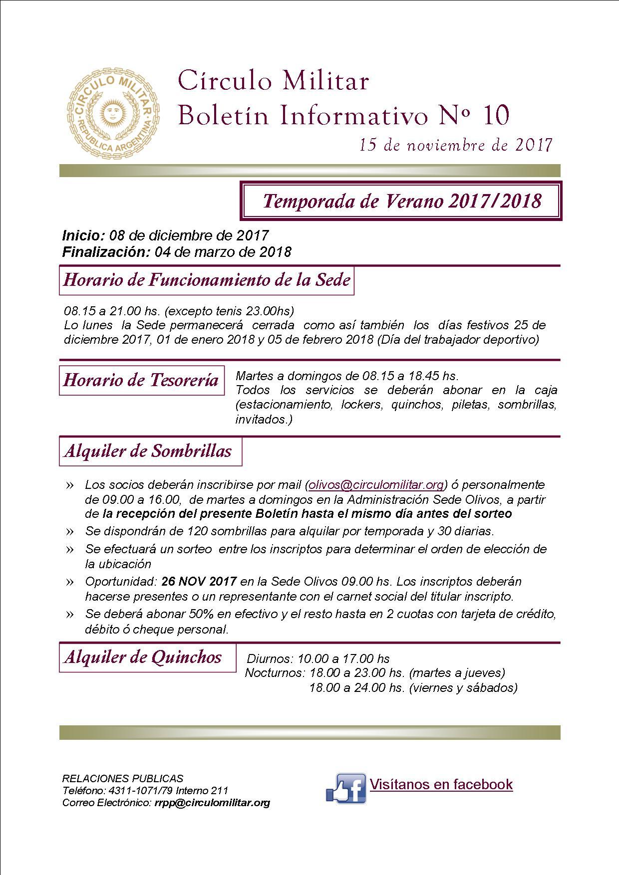 Círculo Militar Informa - Boletín Informativo 07/17